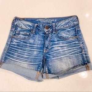 AE Super Super Stretch Midi Light Wash Jean Shorts